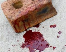 Brick covered with blood